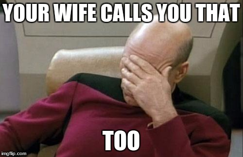 Captain Picard Facepalm Meme | YOUR WIFE CALLS YOU THAT TOO | image tagged in memes,captain picard facepalm | made w/ Imgflip meme maker