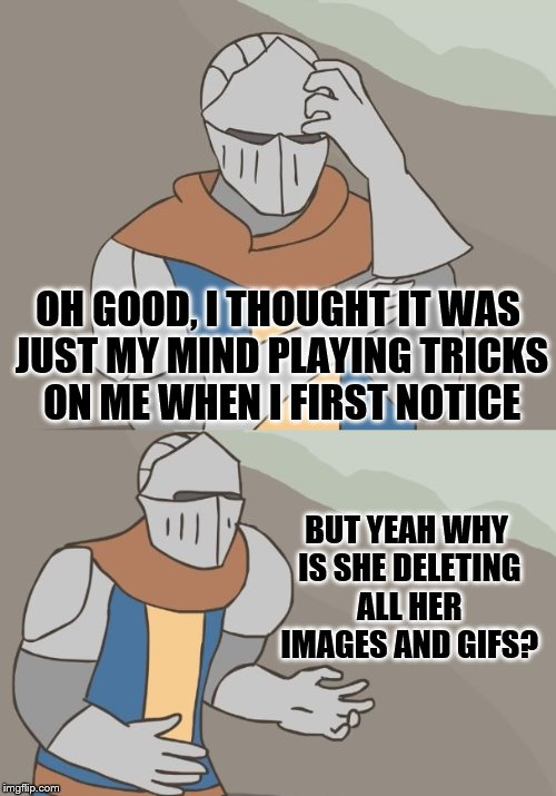 OH GOOD, I THOUGHT IT WAS JUST MY MIND PLAYING TRICKS ON ME WHEN I FIRST NOTICE BUT YEAH WHY IS SHE DELETING ALL HER IMAGES AND GIFS? | made w/ Imgflip meme maker