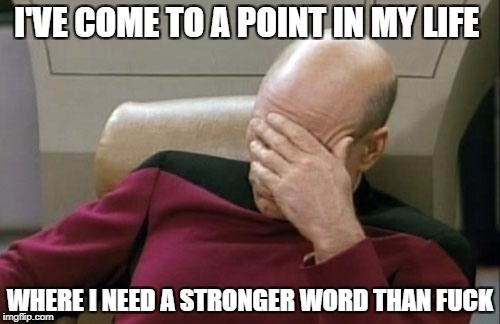 I feel like this all the time | I'VE COME TO A POINT IN MY LIFE WHERE I NEED A STRONGER WORD THAN F**K | image tagged in memes,captain picard facepalm | made w/ Imgflip meme maker