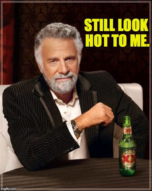 The Most Interesting Man In The World Meme | STILL LOOK HOT TO ME. | image tagged in memes,the most interesting man in the world | made w/ Imgflip meme maker