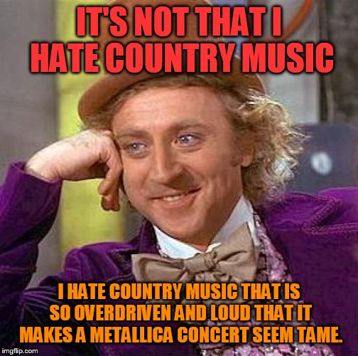 Creepy Condescending Wonka Meme | IT'S NOT THAT I HATE COUNTRY MUSIC I HATE COUNTRY MUSIC THAT IS SO OVERDRIVEN AND LOUD THAT IT MAKES A METALLICA CONCERT SEEM TAME. | image tagged in memes,creepy condescending wonka | made w/ Imgflip meme maker