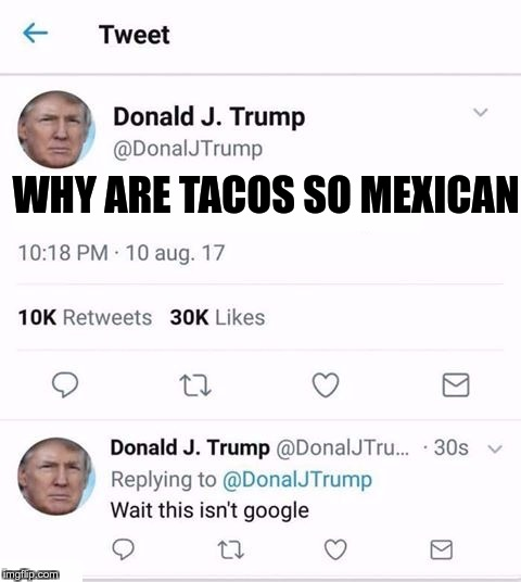 Ladies and gentlemen, I present to you, the Trump twitter meme... | WHY ARE TACOS SO MEXICAN | image tagged in trump twitter,mexican,tacos,trump,google | made w/ Imgflip meme maker