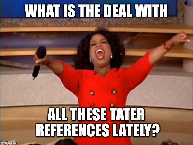Oprah You Get A Meme | WHAT IS THE DEAL WITH ALL THESE TATER REFERENCES LATELY? | image tagged in memes,oprah you get a | made w/ Imgflip meme maker