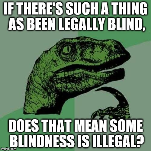 Philosoraptor |  IF THERE'S SUCH A THING AS BEEN LEGALLY BLIND, DOES THAT MEAN SOME BLINDNESS IS ILLEGAL? | image tagged in memes,philosoraptor | made w/ Imgflip meme maker