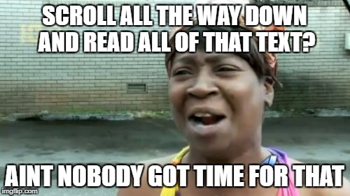 Aint Nobody Got Time For That Meme | SCROLL ALL THE WAY DOWN AND READ ALL OF THAT TEXT? AINT NOBODY GOT TIME FOR THAT | image tagged in memes,aint nobody got time for that | made w/ Imgflip meme maker