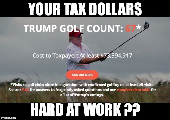 Pissing it away | YOUR TAX DOLLARS HARD AT WORK ?? | image tagged in trump,nazi,fraud,traitor,treason | made w/ Imgflip meme maker