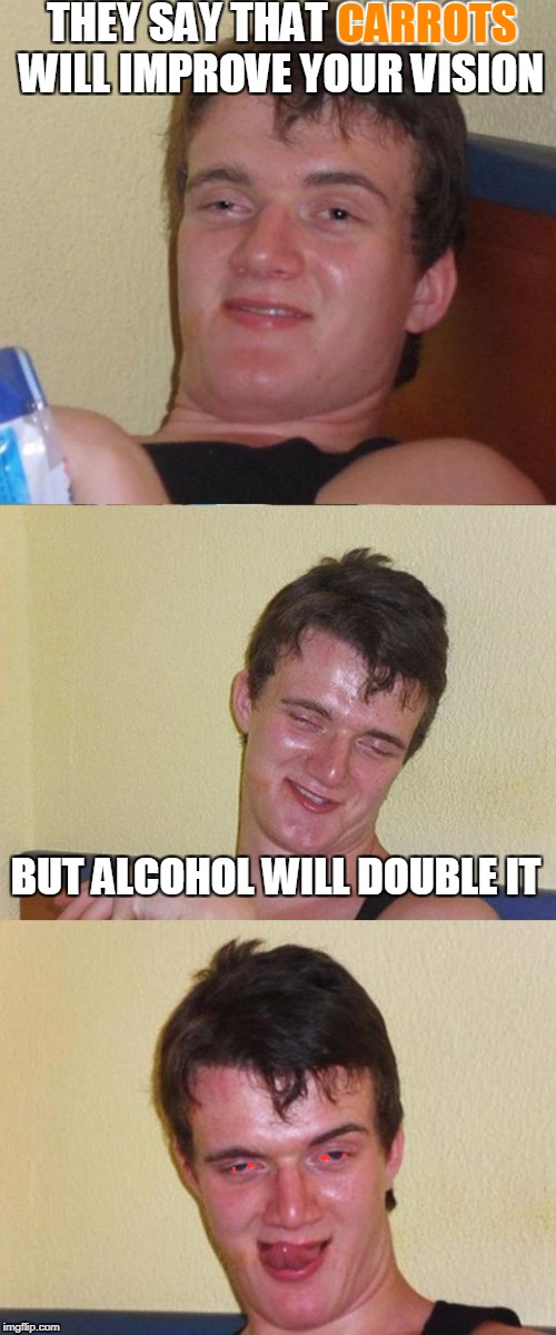 Bad Pun 10 Guy | THEY SAY THAT CARROTS WILL IMPROVE YOUR VISION BUT ALCOHOL WILL DOUBLE IT CARROTS | image tagged in bad pun 10 guy,memes,alcohol,carrots,drunk,double vision | made w/ Imgflip meme maker