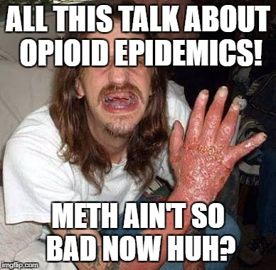 Opioid epedimic.  Could be worse I suppose. | ALL THIS TALK ABOUT OPIOID EPIDEMICS! METH AIN'T SO BAD NOW HUH? | image tagged in meth head,opioids,war on drugs,addiction | made w/ Imgflip meme maker