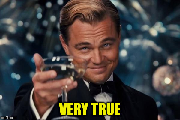 Leonardo Dicaprio Cheers Meme | VERY TRUE | image tagged in memes,leonardo dicaprio cheers | made w/ Imgflip meme maker