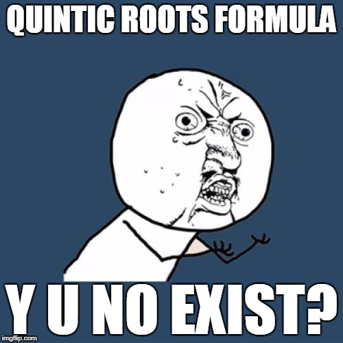 Y U No Meme | QUINTIC ROOTS FORMULA Y U NO EXIST? | image tagged in memes,y u no | made w/ Imgflip meme maker