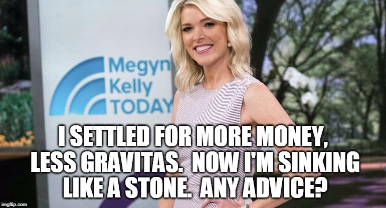 I SETTLED FOR MORE MONEY, LESS GRAVITAS.  NOW I'M SINKING LIKE A STONE.  ANY ADVICE? | image tagged in megyn kelly | made w/ Imgflip meme maker