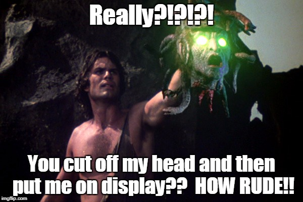 Medusa | Really?!?!?! You cut off my head and then put me on display??  HOW RUDE!! | image tagged in medusa | made w/ Imgflip meme maker