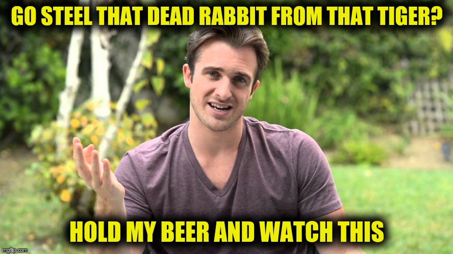 GO STEEL THAT DEAD RABBIT FROM THAT TIGER? HOLD MY BEER AND WATCH THIS | image tagged in bad idea bill | made w/ Imgflip meme maker