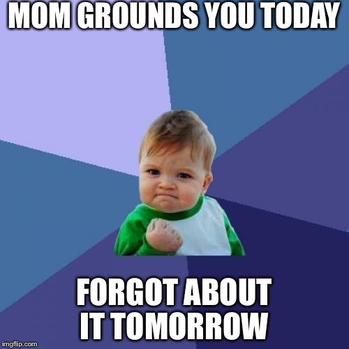 Success Kid Meme | MOM GROUNDS YOU TODAY FORGOT ABOUT IT TOMORROW | image tagged in memes,success kid | made w/ Imgflip meme maker