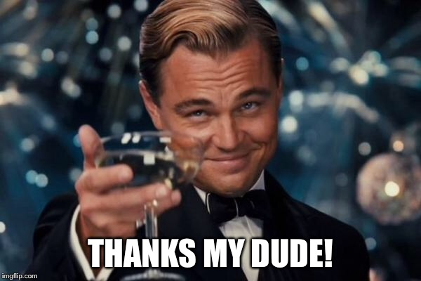Leonardo Dicaprio Cheers Meme | THANKS MY DUDE! | image tagged in memes,leonardo dicaprio cheers | made w/ Imgflip meme maker