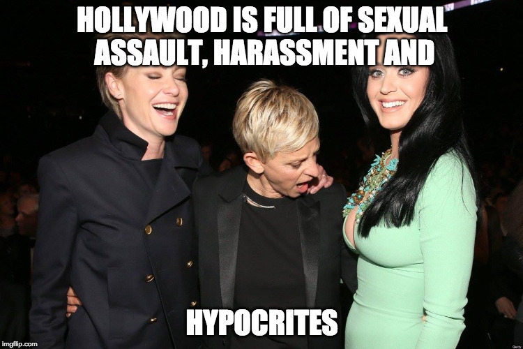They only care when it's in style to care. |  HOLLYWOOD IS FULL OF SEXUAL ASSAULT, HARASSMENT AND; HYPOCRITES | image tagged in ellen degeneres,donald trump,sexual harassment,hollywood liberals,college liberal,harvey weinstein | made w/ Imgflip meme maker