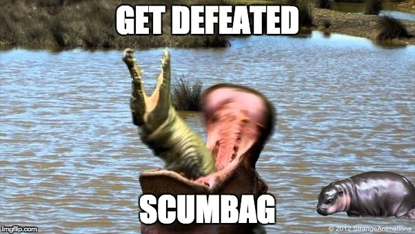 GET DEFEATED SCUMBAG | image tagged in hippo,crocodile,water | made w/ Imgflip meme maker