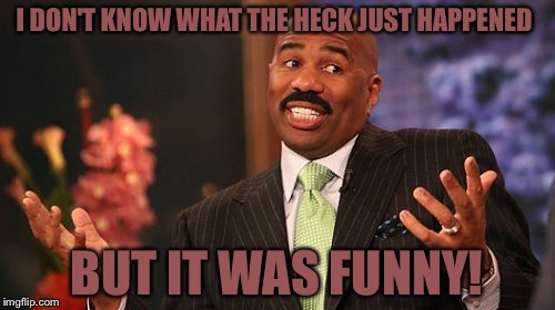 Steve Harvey Meme | I DON'T KNOW WHAT THE HECK JUST HAPPENED BUT IT WAS FUNNY! | image tagged in memes,steve harvey | made w/ Imgflip meme maker
