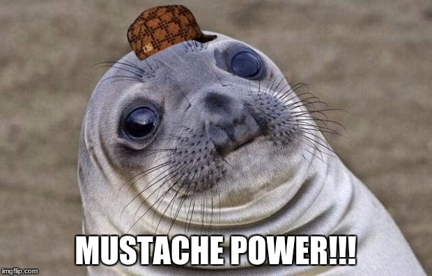 Awkward Moment Sealion Meme | MUSTACHE POWER!!! | image tagged in memes,awkward moment sealion,scumbag | made w/ Imgflip meme maker