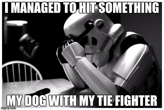 Sad Storm Trooper | I MANAGED TO HIT SOMETHING MY DOG WITH MY TIE FIGHTER | image tagged in sad storm trooper | made w/ Imgflip meme maker