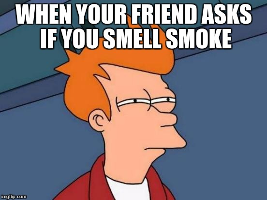 Futurama Fry Meme | WHEN YOUR FRIEND ASKS IF YOU SMELL SMOKE | image tagged in memes,futurama fry | made w/ Imgflip meme maker