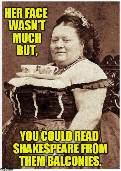 Tea Cup Tina, Regina of Argentina | HER FACE WASN'T MUCH BUT, YOU COULD READ SHAKESPEARE FROM THEM BALCONIES. | image tagged in vince vance,tea cups,woman with a large bust,vintage photograph,large woman with tea cups,balanced on her breasts | made w/ Imgflip meme maker