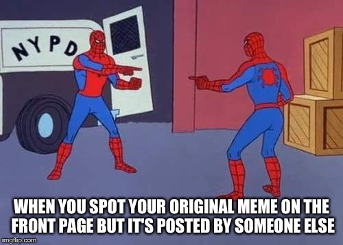 WHEN YOU SPOT YOUR ORIGINAL MEME ON THE FRONT PAGE BUT IT'S POSTED BY SOMEONE ELSE | image tagged in spiderman mirror,memes,reposts | made w/ Imgflip meme maker