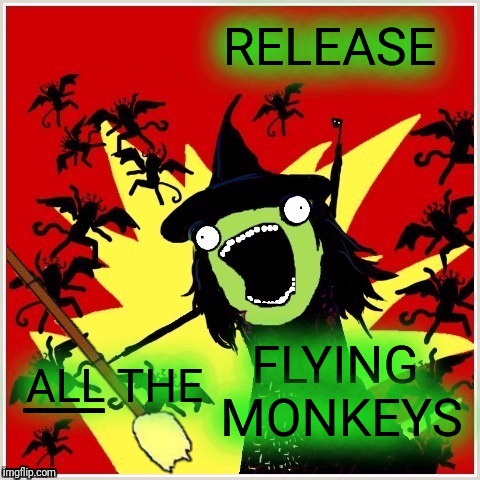 Flying Monkeys are on the way! | RELEASE FLYING MONKEYS ALL THE ___ | image tagged in x-all-the-y-wicked-witch-broom,flying monkeys,on the way,wizard of oz,halloween | made w/ Imgflip meme maker