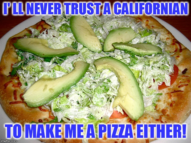I' LL NEVER TRUST A CALIFORNIAN TO MAKE ME A PIZZA EITHER! | made w/ Imgflip meme maker
