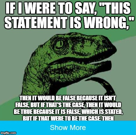 "IF I WERE TO SAY, ""THIS STATEMENT IS WRONG,"" 
