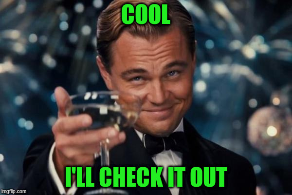 Leonardo Dicaprio Cheers Meme | COOL I'LL CHECK IT OUT | image tagged in memes,leonardo dicaprio cheers | made w/ Imgflip meme maker