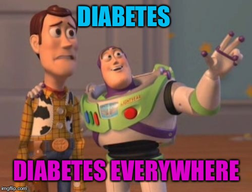 X, X Everywhere Meme | DIABETES DIABETES EVERYWHERE | image tagged in memes,x,x everywhere,x x everywhere | made w/ Imgflip meme maker