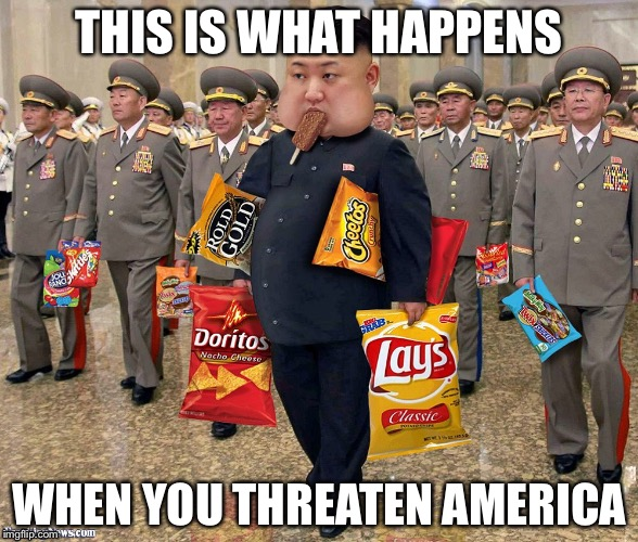 Kim Jong Un exposed | THIS IS WHAT HAPPENS WHEN YOU THREATEN AMERICA | image tagged in kim jong un,food,autism,tag,suicide | made w/ Imgflip meme maker