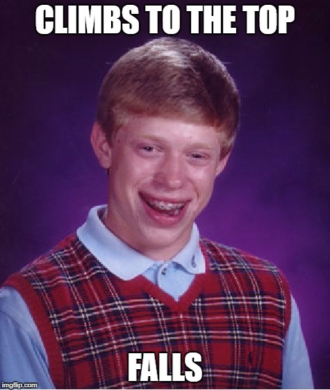 Bad Luck Brian Meme | CLIMBS TO THE TOP FALLS | image tagged in memes,bad luck brian | made w/ Imgflip meme maker