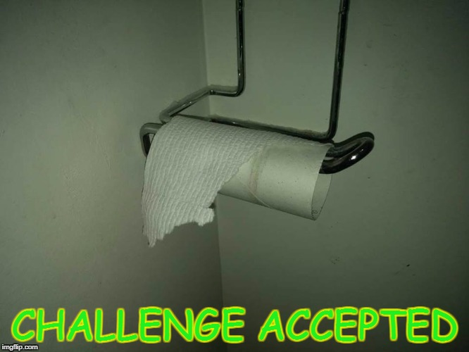 TP Roll | CHALLENGE ACCEPTED | image tagged in toilet paper | made w/ Imgflip meme maker
