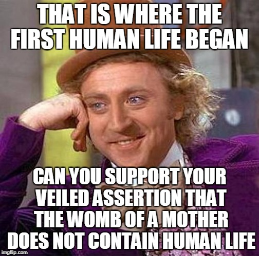 Creepy Condescending Wonka Meme | THAT IS WHERE THE FIRST HUMAN LIFE BEGAN CAN YOU SUPPORT YOUR VEILED ASSERTION THAT THE WOMB OF A MOTHER DOES NOT CONTAIN HUMAN LIFE | image tagged in memes,creepy condescending wonka | made w/ Imgflip meme maker