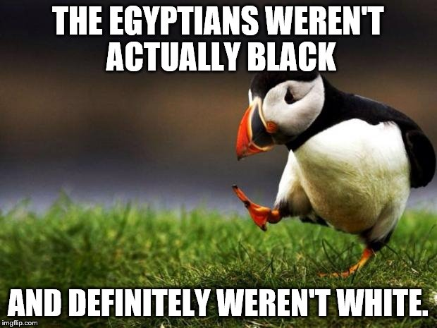 Unpopular Opinion Puffin Meme | THE EGYPTIANS WEREN'T ACTUALLY BLACK AND DEFINITELY WEREN'T WHITE. | image tagged in memes,unpopular opinion puffin | made w/ Imgflip meme maker