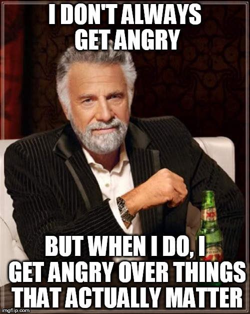 The Most Interesting Man In The World Meme | I DON'T ALWAYS GET ANGRY BUT WHEN I DO, I GET ANGRY OVER THINGS THAT ACTUALLY MATTER | image tagged in memes,the most interesting man in the world,anger,rage | made w/ Imgflip meme maker