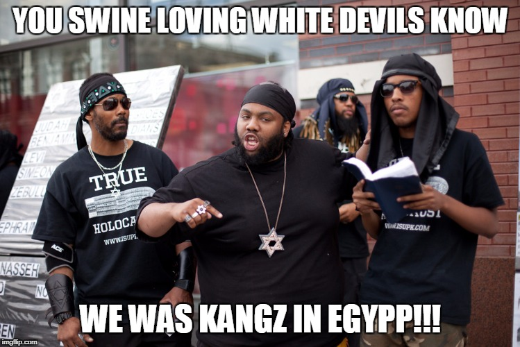 YOU SWINE LOVING WHITE DEVILS KNOW WE WAS KANGZ IN EGYPP!!! | made w/ Imgflip meme maker