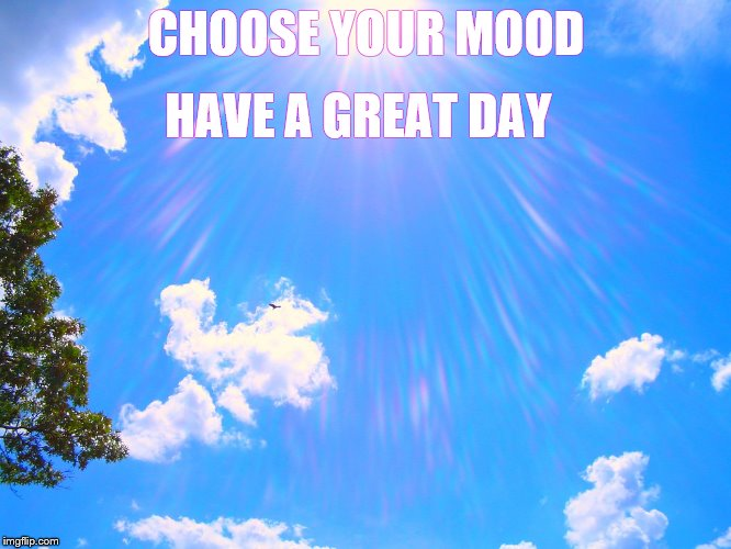CHOOSE YOUR MOOD HAVE A GREAT DAY | image tagged in sunshine | made w/ Imgflip meme maker