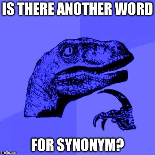 Doesn't seem to have anything quite like it.  ಠ_ರೃ✍ | IS THERE ANOTHER WORD FOR SYNONYM? | image tagged in philosoraptor blue craziness,memes,funny,words,english language | made w/ Imgflip meme maker