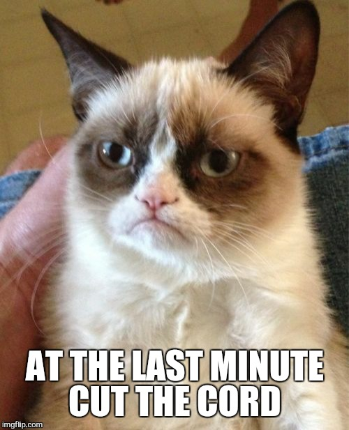 Grumpy Cat Meme | AT THE LAST MINUTE CUT THE CORD | image tagged in memes,grumpy cat | made w/ Imgflip meme maker