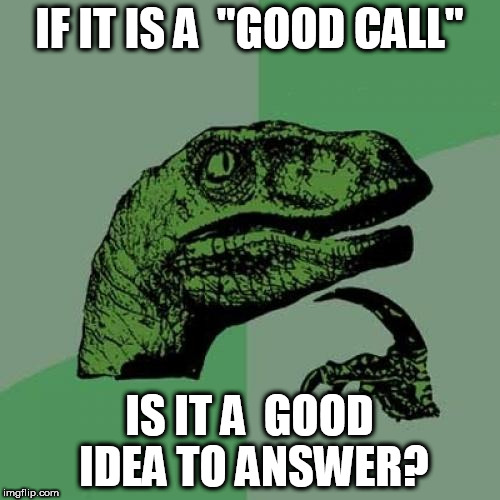 "Philosoraptor Meme | IF IT IS A  ""GOOD CALL"" IS IT A  GOOD IDEA TO ANSWER? 