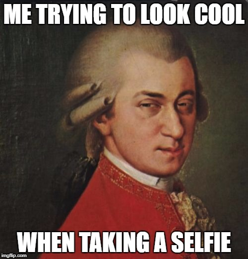 Mozart Not Sure | ME TRYING TO LOOK COOL WHEN TAKING A SELFIE | image tagged in memes,mozart not sure | made w/ Imgflip meme maker