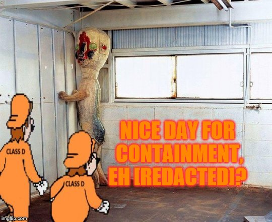 NICE DAY FOR CONTAINMENT, EH [REDACTED]? | made w/ Imgflip meme maker