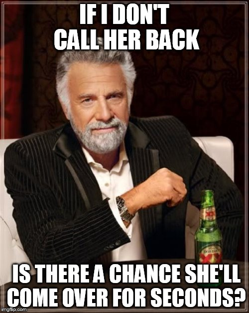 The Most Interesting Man In The World Meme | IF I DON'T CALL HER BACK IS THERE A CHANCE SHE'LL COME OVER FOR SECONDS? | image tagged in memes,the most interesting man in the world | made w/ Imgflip meme maker