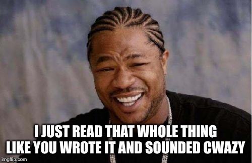 Yo Dawg Heard You Meme | I JUST READ THAT WHOLE THING LIKE YOU WROTE IT AND SOUNDED CWAZY | image tagged in memes,yo dawg heard you | made w/ Imgflip meme maker
