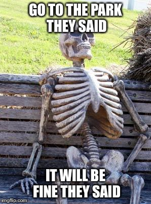 Waiting Skeleton Meme | GO TO THE PARK THEY SAID IT WILL BE FINE THEY SAID | image tagged in memes,waiting skeleton | made w/ Imgflip meme maker