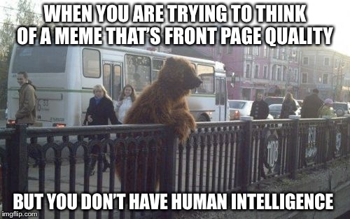 City Bear | WHEN YOU ARE TRYING TO THINK OF A MEMETHAT'S FRONT PAGE QUALITY BUT YOU DON'T HAVE HUMAN INTELLIGENCE | image tagged in memes,city bear | made w/ Imgflip meme maker