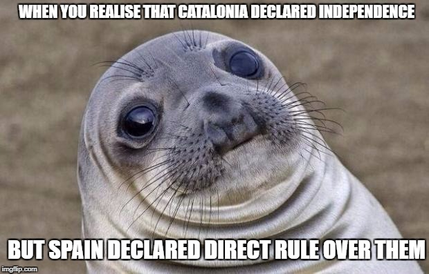 I'm not giving my opinion on this, but it is an awkward moment. | WHEN YOU REALISE THAT CATALONIA DECLARED INDEPENDENCE BUT SPAIN DECLARED DIRECT RULE OVER THEM | image tagged in memes,awkward moment sealion,spain,catalonia,independence | made w/ Imgflip meme maker